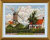 RIOLIS Moulin à Vent en knokke nach C. Piss arros Peinture Kit de Point de Croix, Coton, Multicolore, 33x 25cm