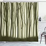 Ambesonne Tree Shower Curtain, Mother Nature Theme Illustration of Mystical Forest Trees Print, Cloth Fabric Bathroom Decor Set with Hooks, 84' Long Extra, Army Green Sage Green