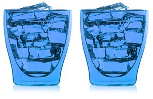 Bedida 2 x 200 ml blauwe dubbelwandige thee- en koffieglazen met zweefeffect, ook voor whiskey, water, sappen, cola, ijs by Feelino