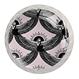 4PC Egyptian Man with Wings Drawer Knob Pull Handle Crystal Glass Circle Shape Cabinet Dra...