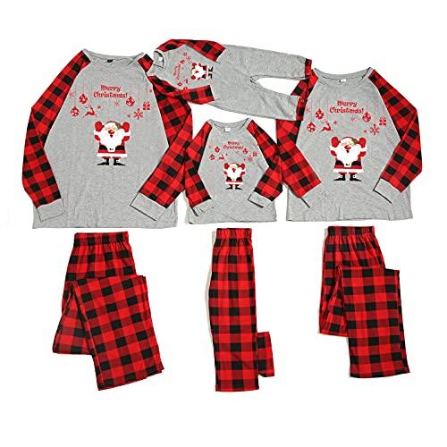 Pijamas de Navidad Familiar Pijamas Conjunto para Mujeres Hombres Niños Ciervo Patrón Camisa Top Cuadros Pijamas Bottoms Loungewear Traje, Grey Red Santa, 2-3 años