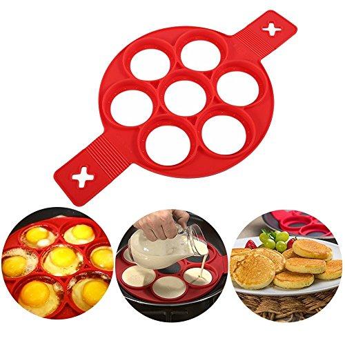 KJLM Nonstick Silikon Ei Ring Pfannkuchen Form, Neue verbesserte Silikon auslaufsichere Design, Wiederverwendbare Silikon Non Stick Pfannkuchen Maker (RED)