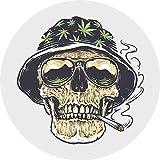 Cool Halloween Skull Head Wearing A Weed Hat A Smoking A Joint Cartoon Truck Car Bumper Sticker Vinyl Decal 5'