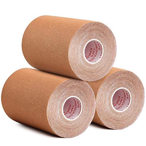Kinesiologie Tape Set, Elastisches Klebeband 5cm/ 7.5cm/ 10cm x 5m, Sport Muskeln Zentrum Fitness Band (Khaki, 10cmX5m)