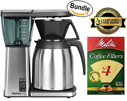 Bonavita BV1800SS 8-Cup Original Coffee Brewer, Stainless Steel & Melitta Cone Coffee Filters, Natural Brown, No. 4, 100-Count Filters (Bundle)