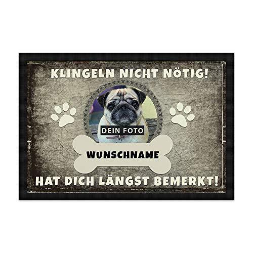 Print Royal Fußmatte personalisiert mit EIGENEM Hundefoto und Wunschname selbst gestalten - Hunde-Fußmatte mit Hundename Bedrucken Lassen - Geschenk für Hundebesitzer - 60 x 40 cm