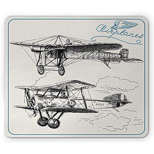 Vliegtuig muis pad, klassieke nostalgische vliegtuig Propeller in de lucht reizen vleugels schets, 25x30cm anti-slip rubber, blauw zwart