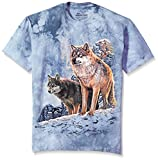The Mountain Unisex-Erwachsene Wolf Couple Sunset T-Shirt, blau, Groß