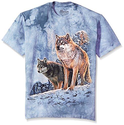 The Mountain unisex adult Wolf Couple Sunset T Shirt, Blue, XX-Large US