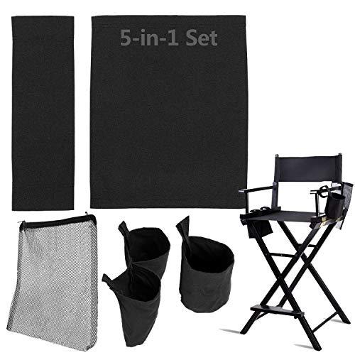STAY GENT - Juego de accesorios 5 en 1 para silla de artista de maquillaje, (no incluye silla), color negro