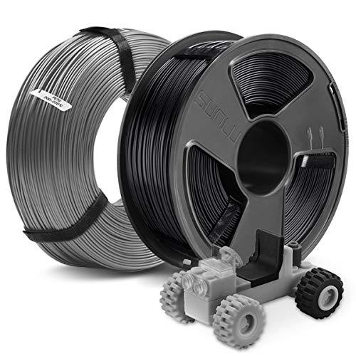 3D Printer PETG Filament 1.75MM, SUNLU 2KG PETG 1.75mm of MasterSpool, Fit FDM 3D Printer, 1KG Spool, Pack of 2, Dimensional Accuracy +/- 0.02 mm, PETG Black+Grey