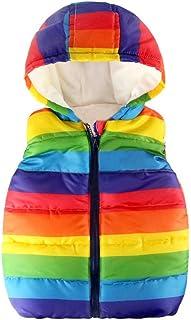 Toddler Baby Boys Girls Rainbow Sleeveless Puffer Hoodie Vest Jacket Coat Windproof Winter Outwear Coat