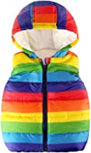 Londony ♪❤ Baby Boys Toddler Kids Rainbow Print Vests Coats Fleece Inside Vest Jacket with Hood