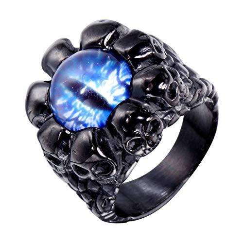 HIJONES Dominador Gótico Motorista Cráneo Esqueleto Demonio Anillo para Hombre Acero Inoxidable con Azul Real Piedra Negro Tamaño 26