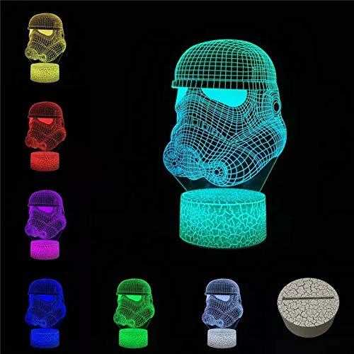 Interesante armadura de batalla multicolor forma de cabeza 3D LED cambio de tacto luz de atmósfera regalo para amantes del cine