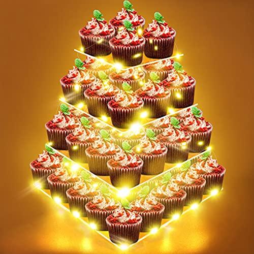 4-Etagen Tortenständer, Cupcake Ständer mit Led Lichterkette (Gelbes) Muffin Ständer Dessert Display Halter Klarer Acryl Donut Turm Gebäckständer für Geburtstag, Hochzeit, Party, Bäckerei Deko, Büfett