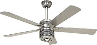 Casafan 513218 ALU AL ventilador de techo con luz aluminio pulido-alas plateado/cerezo
