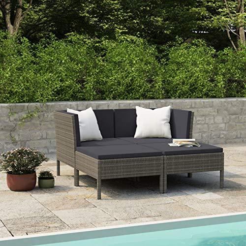 Ksodgun Set Muebles de jardín 4 Piezas y Cojines Conjunto de Jardín para Balcón Restaurante Piscina ratán sintético Gris + Gris Antracita