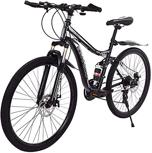 Off-Road Mountain Bike 26-Inch MTB Cruiser Bike 21-Speed Gear, Disc Brake/MTB Brake Lever, Full Suspension, Adult Bicycle Folding Bike