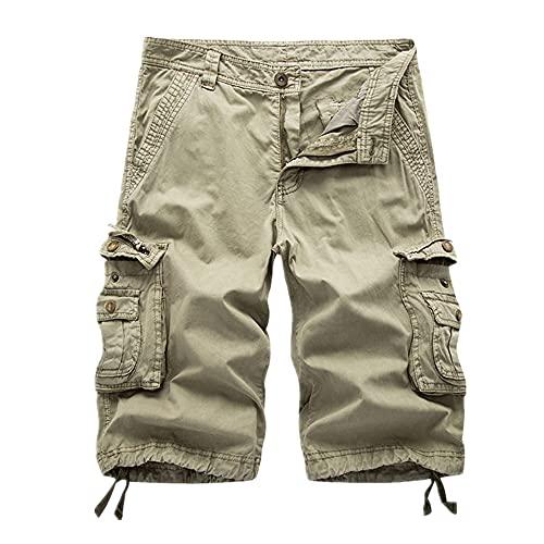 N\P Pantalones cortos de verano para hombre con múltiples bolsillos para entrenamiento casual