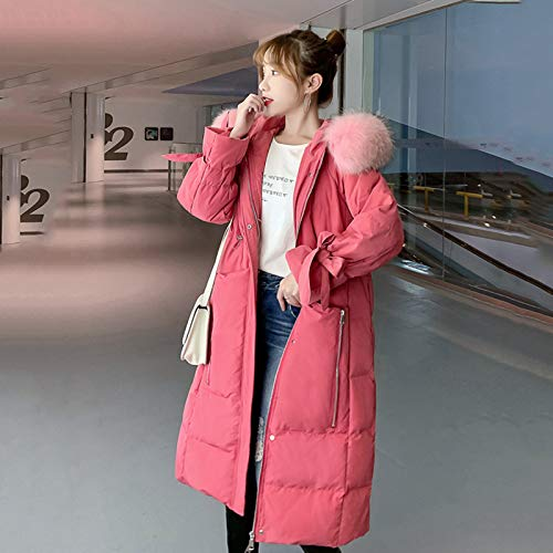 DYH&CTS Daunenjacken Damen Daunenmantel - Fashion Hooded Jacket - Warmer Parkas Damenmantel X-Long Slim Daunenmantel, Ziegelrot, M