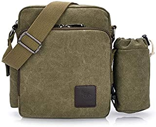 Fashion Green Canvas Shoulder Bags For Men Retro Casual Cross-body Bags Chic Vintage Multi-functional Handbags For Outdoor...