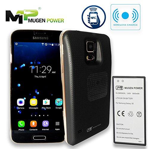 Mugen Power 5900mAh batería extendida para Samsung Galaxy S5   Cubierta negra   Soporte de carga inalámbrica   NFC   Android Pay   12 meses de garantía