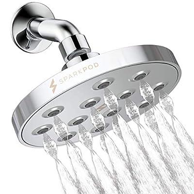 SparkPod Power Rain Shower Head - Luxury Modern Chrome Look - Rainfall Shower Head - Easy Tool Free Installation - The Perfect Adjustable High Pressure Shower Heads