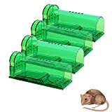 4 Pack Humane Mouse Traps No Kill, Live Mouse Trap, Reusable Mice Trap Catch for House & Outdoors