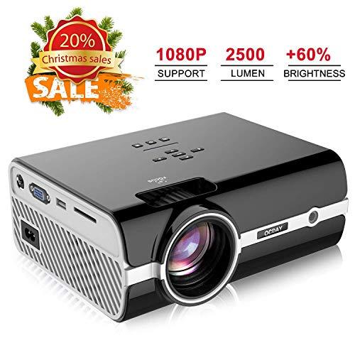 Proiettore OCDAY, 2500 Lumen Mini Portatile Videoproiettore, Supporta 1080P HD Dolby Sound Home Theater Proiettori, Compatibile con Amazon Fire TV Stick USB HDMI VGA