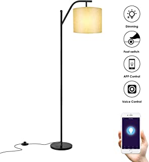 Floor lamp, Wellwerks Smart Light(with Wi-Fi Bulb),- Classic Standing Industrial Arc Light with Lamp Shade, Modern Floor Lamp for Bedroom, Living Room, Study Room