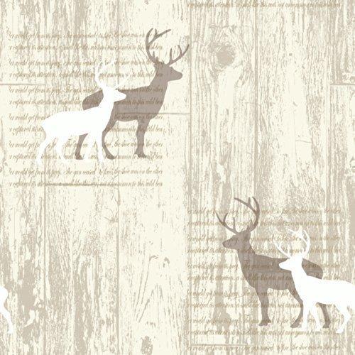 Hirsch Creme Kabine Holz Tapete - Arthouse 623001