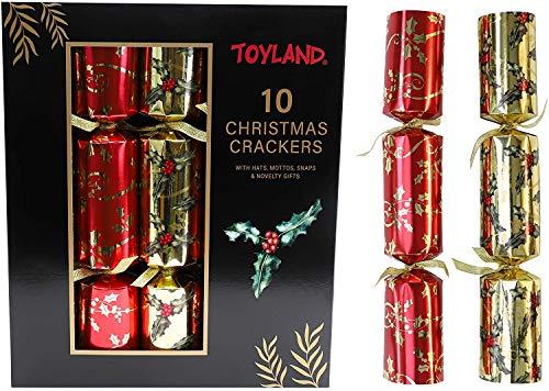 10 x große Folie Weihnachten Cracker Familie Party Cracker Pack Red Gold Xmas Tree