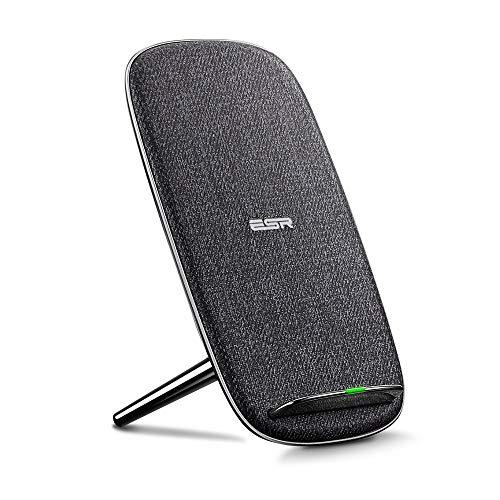 ESR Lounge Stand Caricabatterie Wireless [10W/5W] per iPhone XS/XS Max/XR/X/8/8 Plus, 10W Ricarica Rapida per Galaxy Note 10/Note 10 Plus/S10/S10+/S10e/S9/S9 Plus/S8/Note 9/Note 8/S7, Grigio