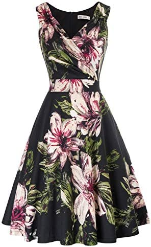 Vintage Floral Cocktail Dress Summer A line Swing Dress Size S CL2811 3 product image