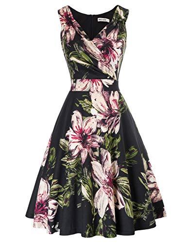 cocktailkleid v Ausschnitt Elegante Kleider Sommer Petticoat Kleid 50er Jahre Swing Kleid CL2811-3 XL