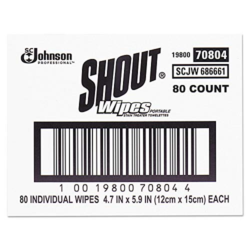 Shout 686661 Wipe & Go Instant Stain Remover, 4.7 x 5.9, 80 Packets/Carton