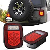 Nilight - TL-21 2PCS 39 LED Universal Stop Turn Tail Light for Truck Trailer Boat Jeep, 12V Stud Mounted Red/White Lamp, 2 Years Warranty