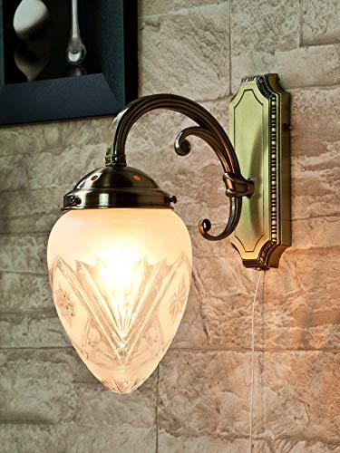 Verzierte Wandlampe mit Zugschalter Glas Schirm Jugendstil in Bronze Wandleuchte Wohnzimmer Bett Flur