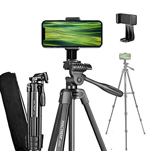 MACTREM Stativ für Smartphone - Aluminium Stativ für Handy Gopro Kamera 136,5cm Reisestativ 55 Inch Dreibein Stativ mit Tragetasche