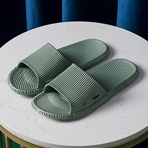JFHZC Zapatillas de Piscina Antideslizan,Sandalias y Pantuflas para Parejas en casa, Pantuflas de PVC para baño Interior para Mujeres, Zapatos de Hotel de Suela Blanda Antideslizantes-Green_40-41