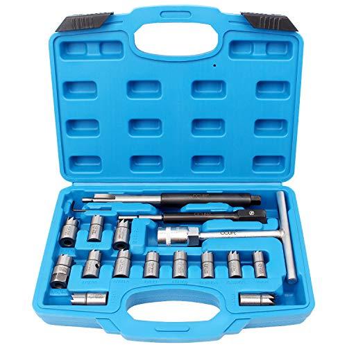 CCLIFE 17tlg Diesel Injektor Fräser Dichtsitzfräser Injektoren Inspritzdüsen Werkzeug mit 13 Fräsern und 19mm Injektorfräser