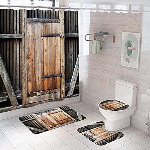3D Gedruckter Duschvorhang 180x200 cm Graubraune optische Holzstreifen Wasserdicht Antibakterielles Duschvorhang gesetzt Polyester rutschfest Badematte Waschmaschinenfest