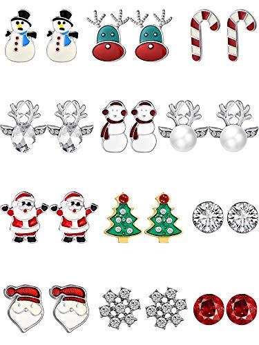12 Paia Orecchini di Natale Pendenti Orecchini a Bottone di Natale Set Regalo di Natale Orecchini (Stile Set 3)