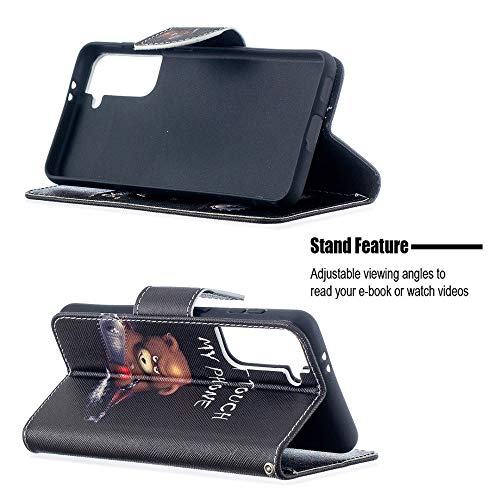 CoverKingz Handyhülle für Samsung Galaxy S21 5G - Handytasche mit Kartenfach Galaxy S21 5G Cover - Handy Hülle klappbar Motiv Don´t Touch My Phone Bär