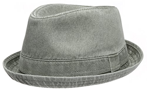 Men's Casual Vintage Style Washed Cotton Fedora Hat (F2232-OLIVE,LXL)