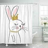 JOOCAR Design Duschvorhang, rosa Hase, niedliches Kaninchen, Krone, Mädchen, Tiermuster, Grafik, wasserdichter Stoff, Badezimmerdekor-Set mit Haken
