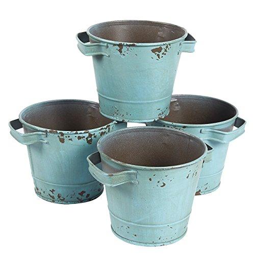 Pequeños cubos galvanizados de color azul envejecido, decoraciones de jardín vintage (4.7 x 3.7 pulgadas, 4 unidades)
