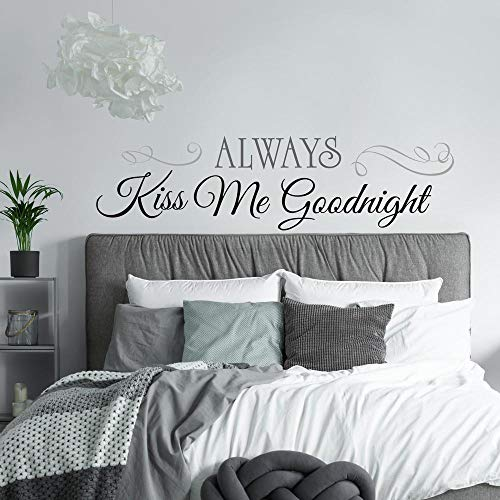 RoomMates Always Kiss Me Goodnight Quote Peel and Stick Wall Decals  10 Inch  x 18 Inch  RMK2084SCS
