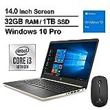 2020 Newest HP Pavilion 14 Inch Laptop (10th Gen Intel Core i3-1005G1 (Beats i5-7200U), 32GB RAM, 1TB SSD, Webcam, Windows 10 Professional) (Gold) + NexiGo Wireless Mouse Bundle